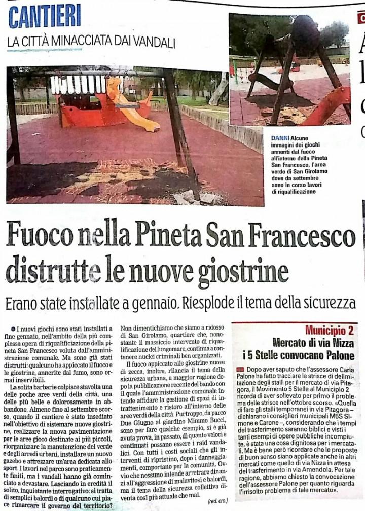 Distrutte le giostrine della Pineta San Francesco