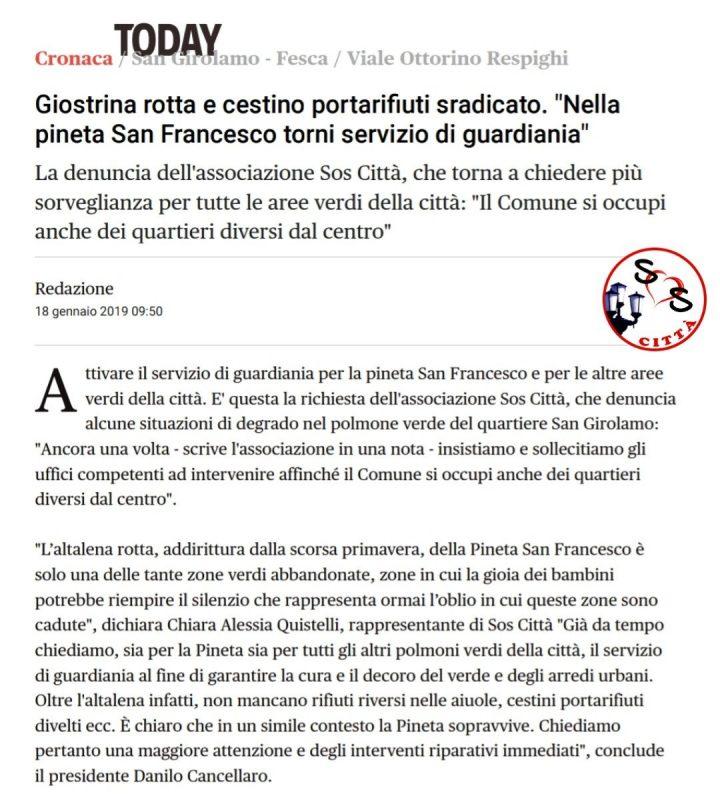 Rassegna stampa del 18/01/2019
