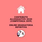 contributo alloggiativo 2020 (competenza 2019): pubblicata la graduatoria definitiva dei beneficiari