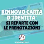 Rinnovo carte d'identità: ripartono le prenotazioni!
